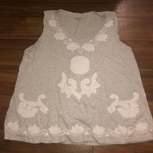 Gray tanktop with white stitched pattern on front
